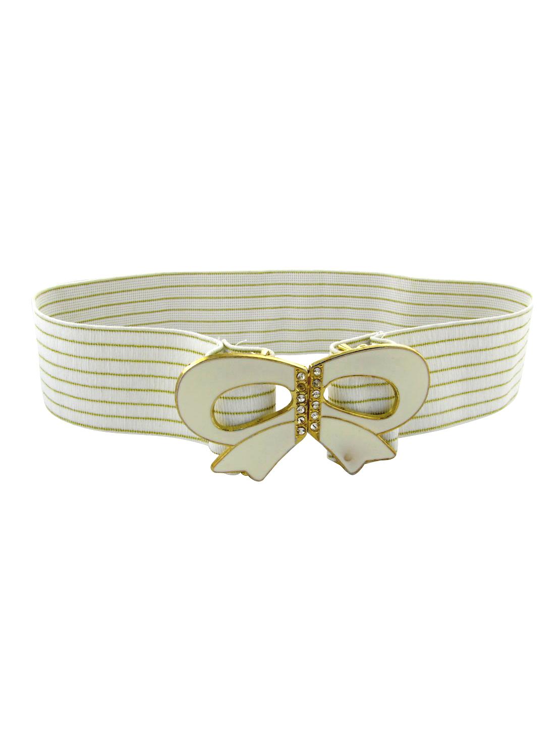 Metallic Thread Plastic Crystal Bowknot Lady White Elastic Waist Belt