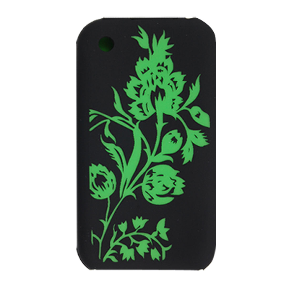 Green Flower Pattern Soft Silicone Case Cover Black for iPhone 3G