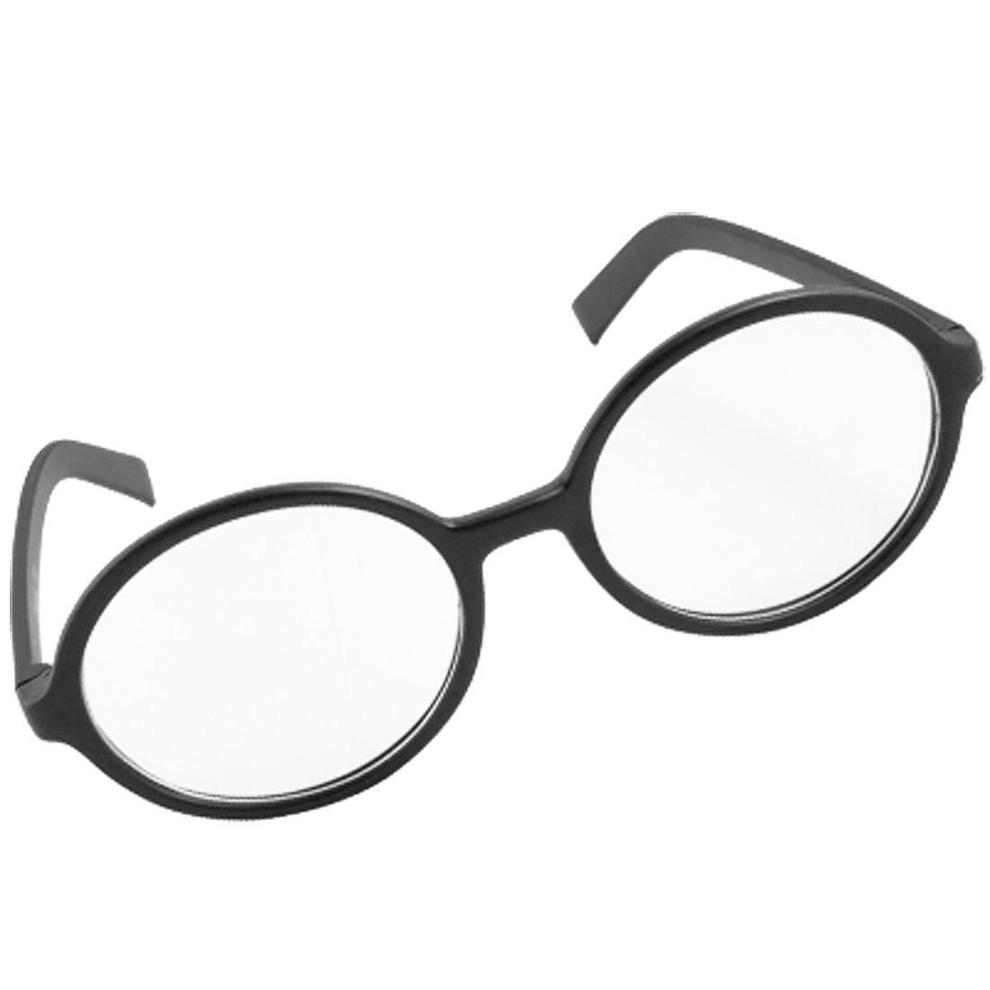 Black Plastic Frame Clear Round Lens Plastic Glasses