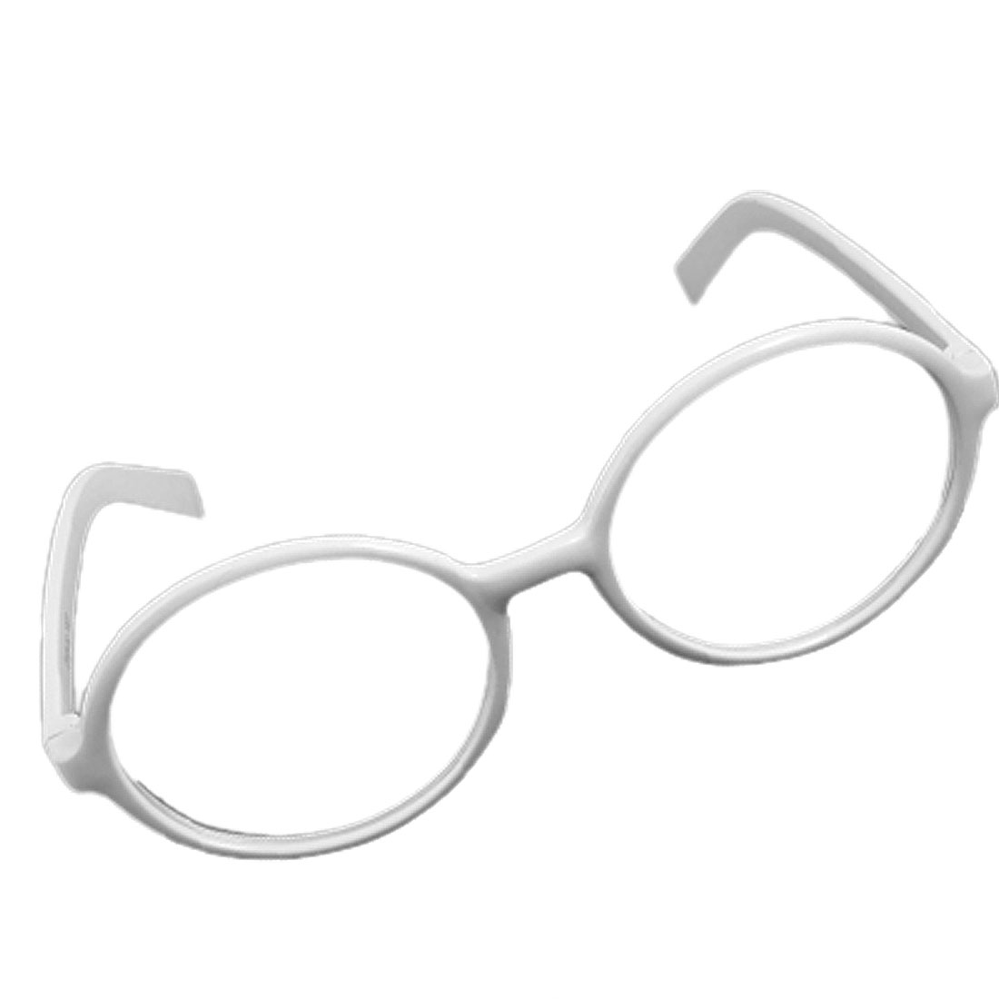 White Plastic Frame Clear Round Lens Plastic Glasses