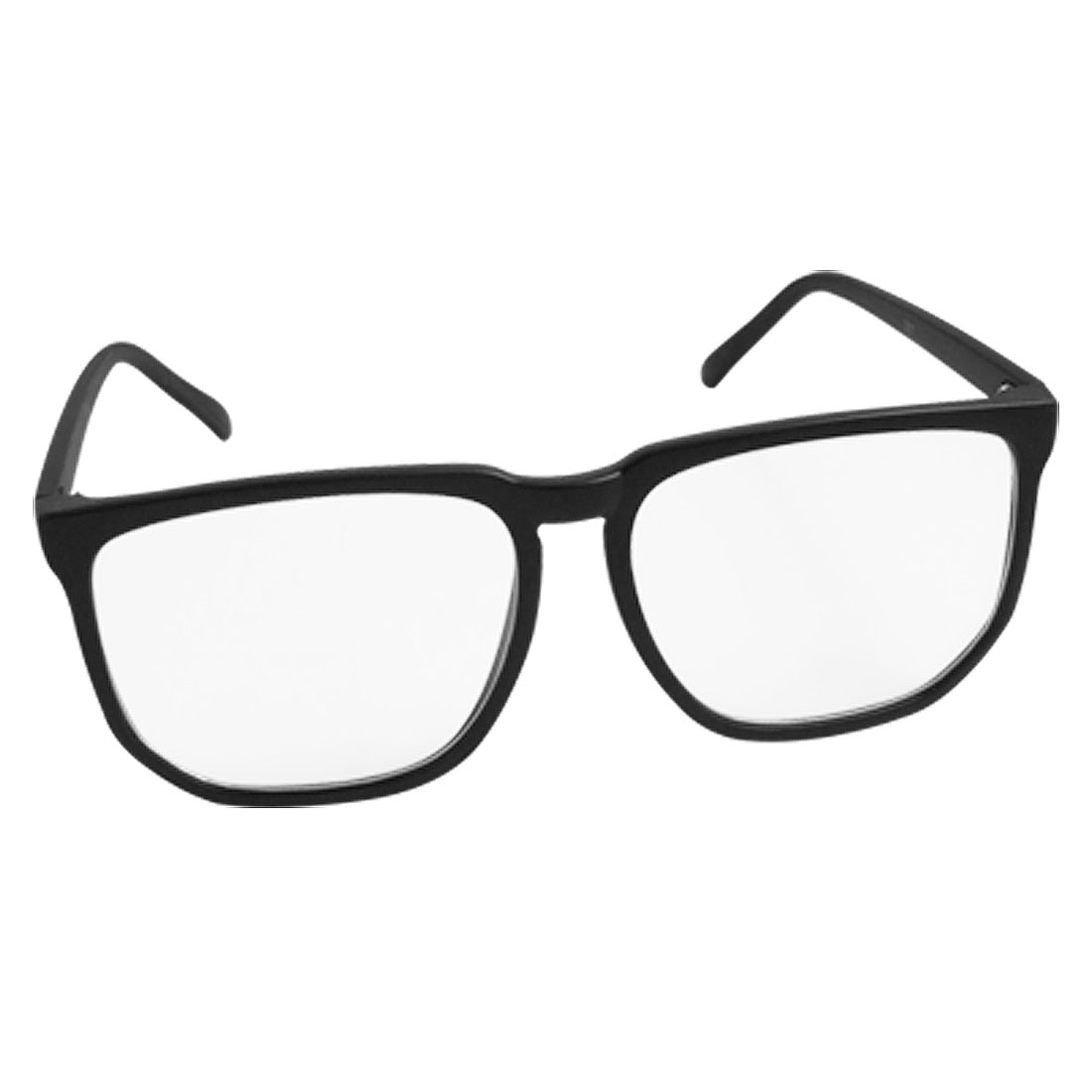 Rubberized Black Plastic Frame Clear Lens Eyewear Glasses