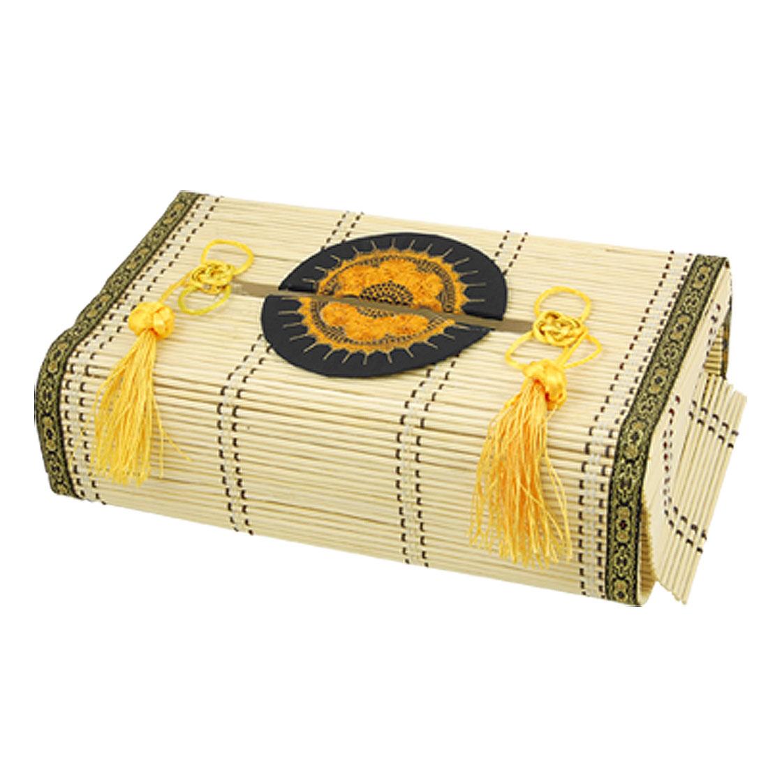 Bamboo Folk Handcraft Tissue Holder Paper Box W Yellow Tassel