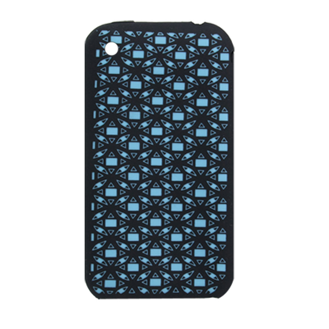Sky Blue Rectangle Print Silicone Back Case Skin for iPhone 3G