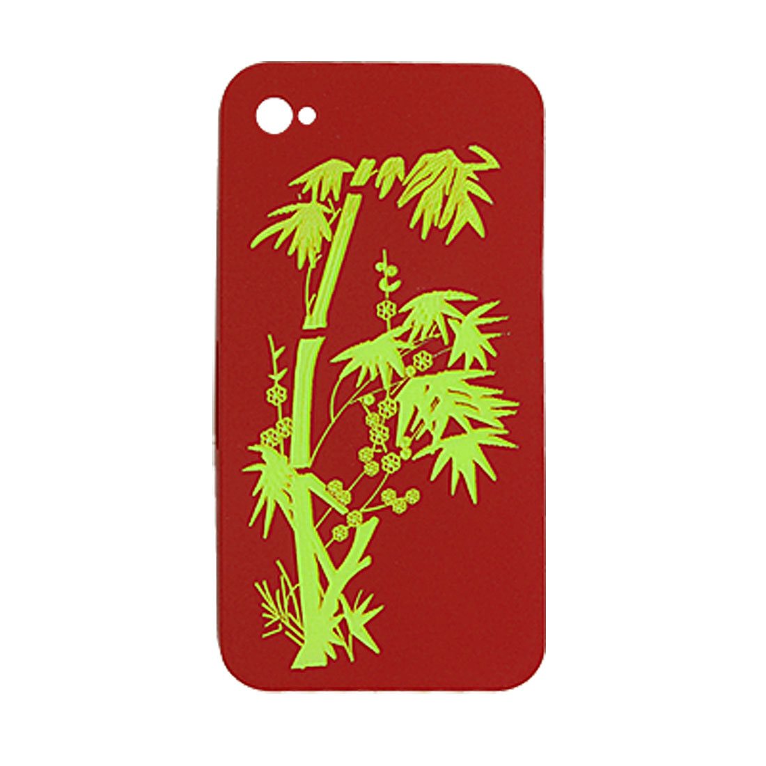 Bamboo Pattern Rubberized Red Hard Plastic Case for iPhone 4 4G