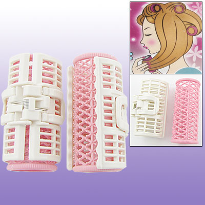 2 PCS Home DIY Hair Curlers Pink White Rollers Clips