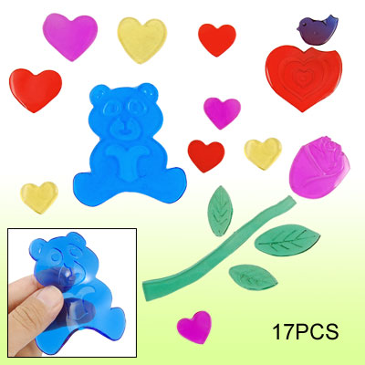Rose Bear Heart Pattern Decor Window Gel Sticker Colorful