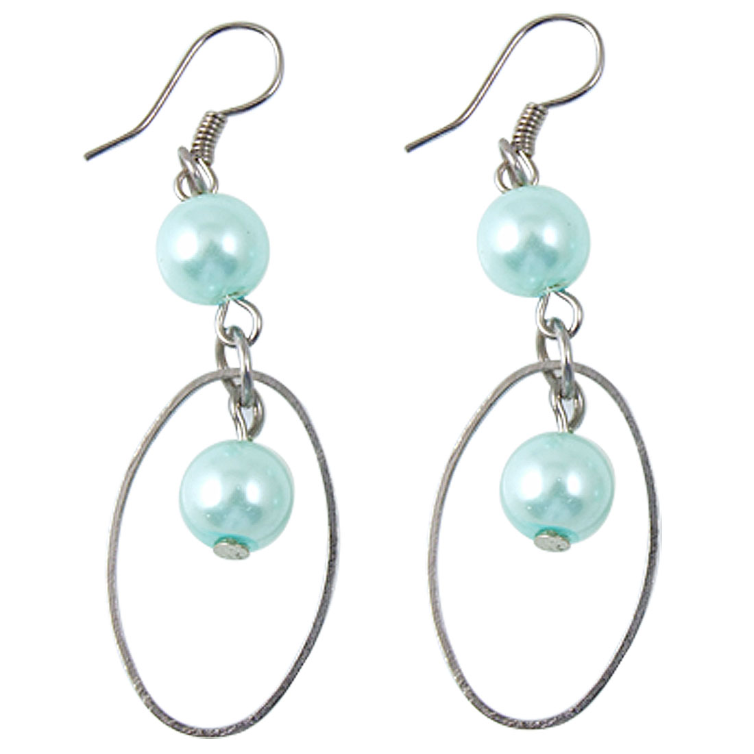 Ladies Baby Blue Beads Matal Oval Pendant Dangling Hook Earrings