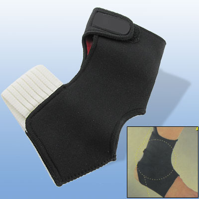Male Small Size Left Ankle Foot Support Brace Soft Neoprene Protector Black White