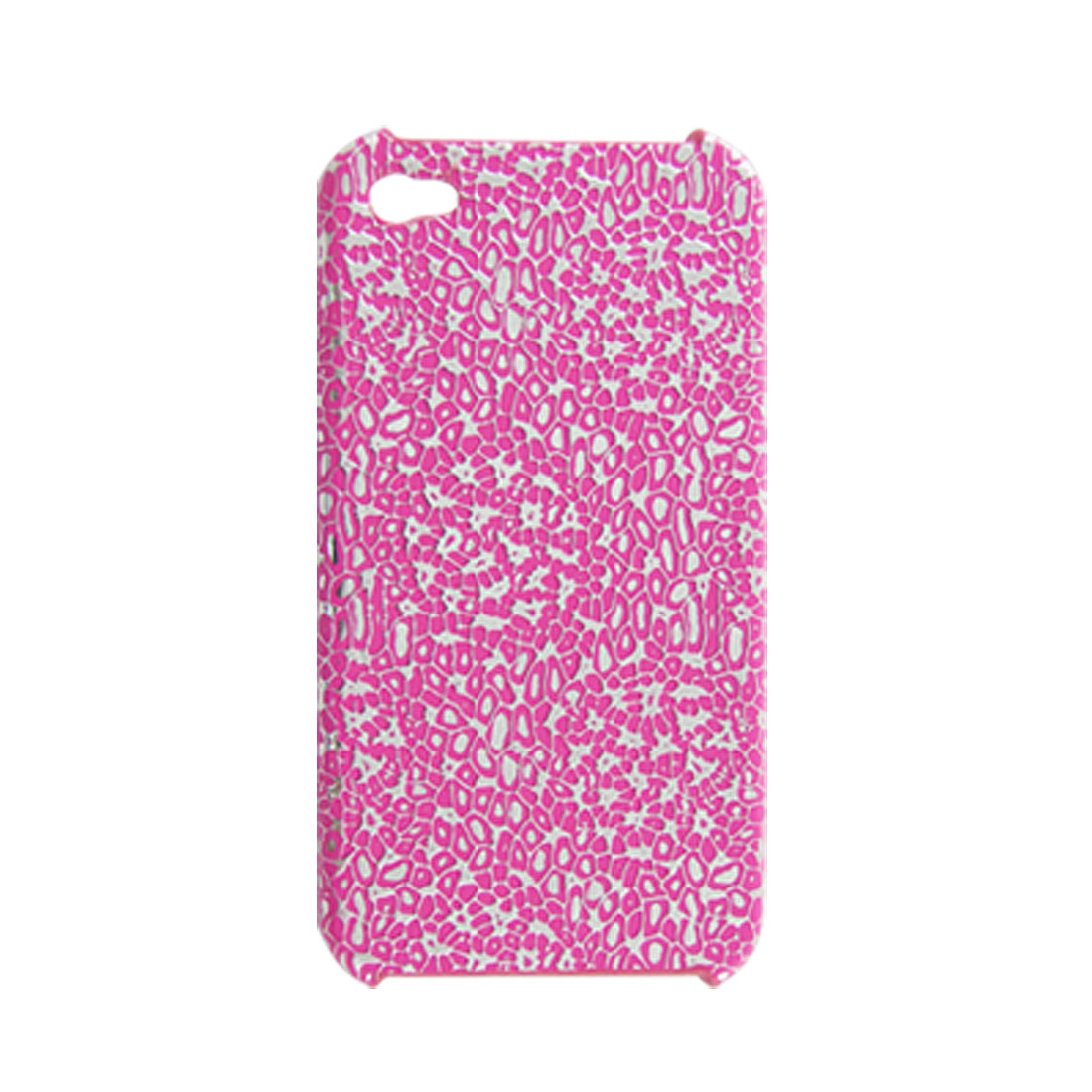 Textured Silver Tone Fuchsia Faux Leather Coated Plastic Case for iPhone 4 4G