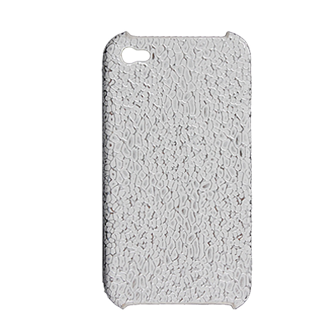 White Silver Tone Textured Faux Leather Coated Plastic Case for iPhone 4 4G