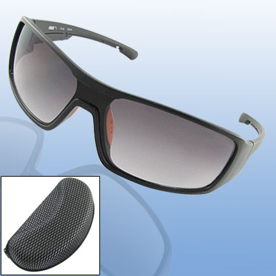 Men Wide Linked Lens Black Frame Sunglasses w Holder Case