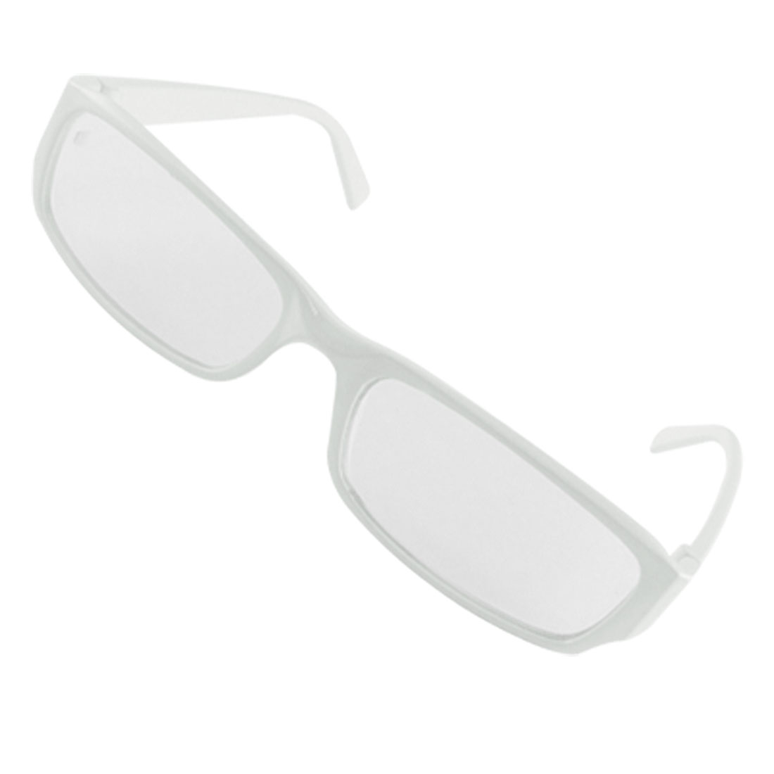 Ladies White Frame Clear Rectangle Lens Slim Eyeglasses
