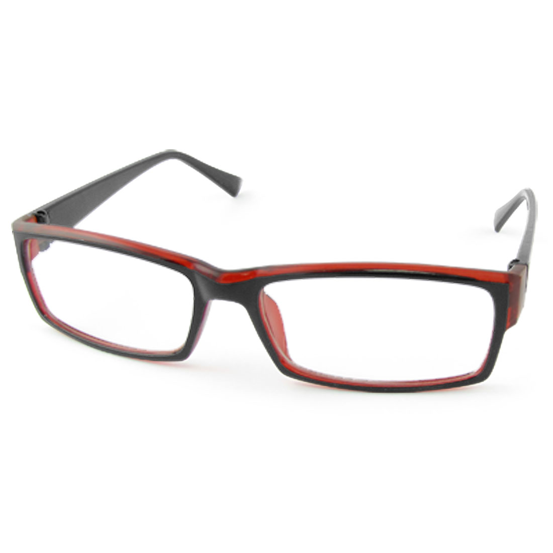 Unisex Wine Red Blk Frame Rectanlge Clear Lens Eyewear
