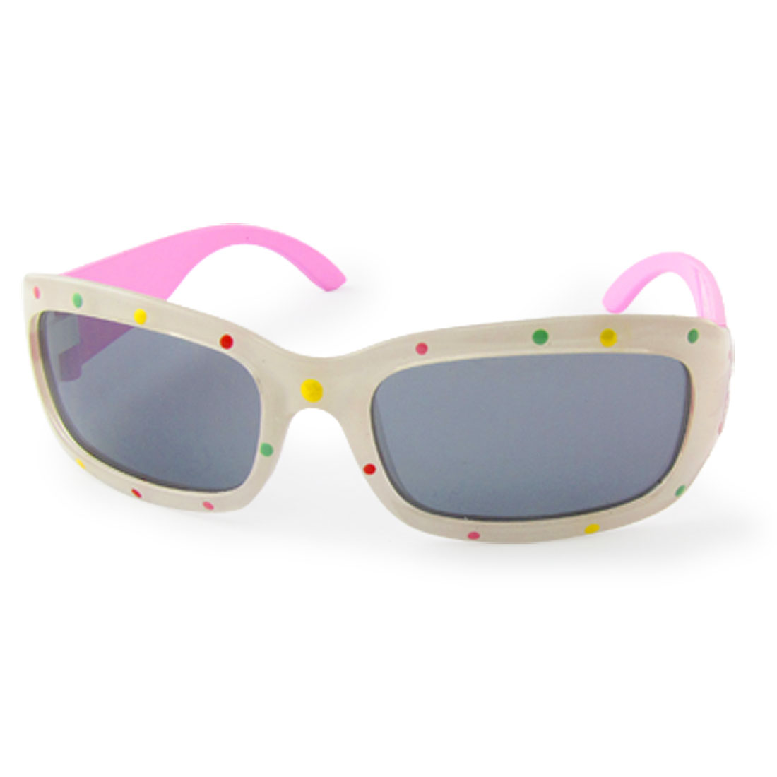 White Frame Pink Temples Dots Print Sunglasses for Kids
