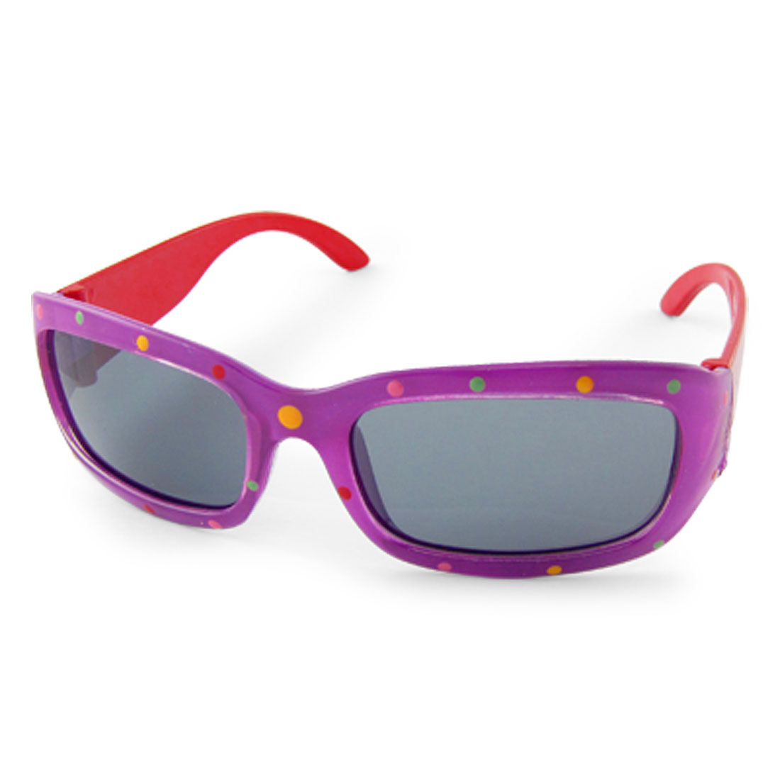 Kids Purple Frame Red Temples Rectangle Lens Sunglasses
