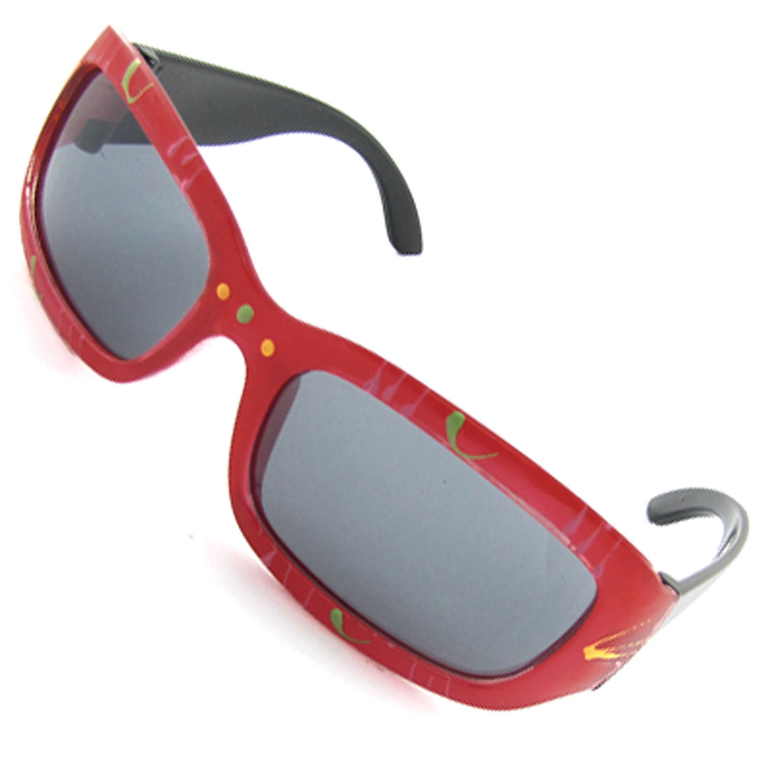 Children Red Frame Black Arms Rectangle Lens Sunglasses