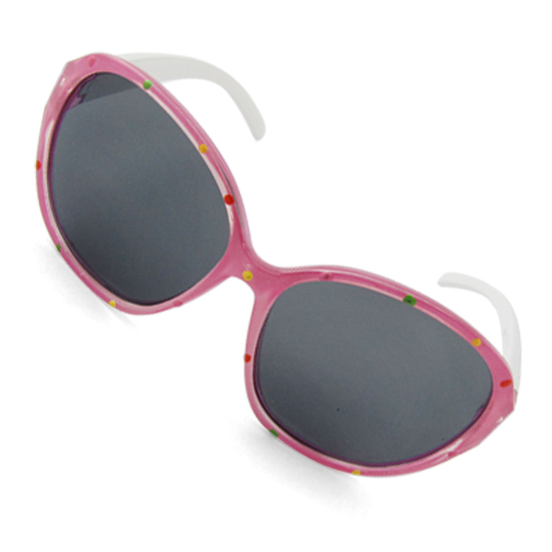 Round Lens Pink Frame White Temples Sunglasses for Kids