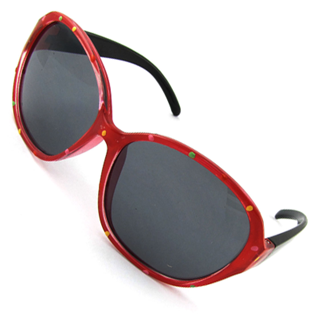 Kids Dots Print Red Frame Dark Lens Blk Arms Sunglasses