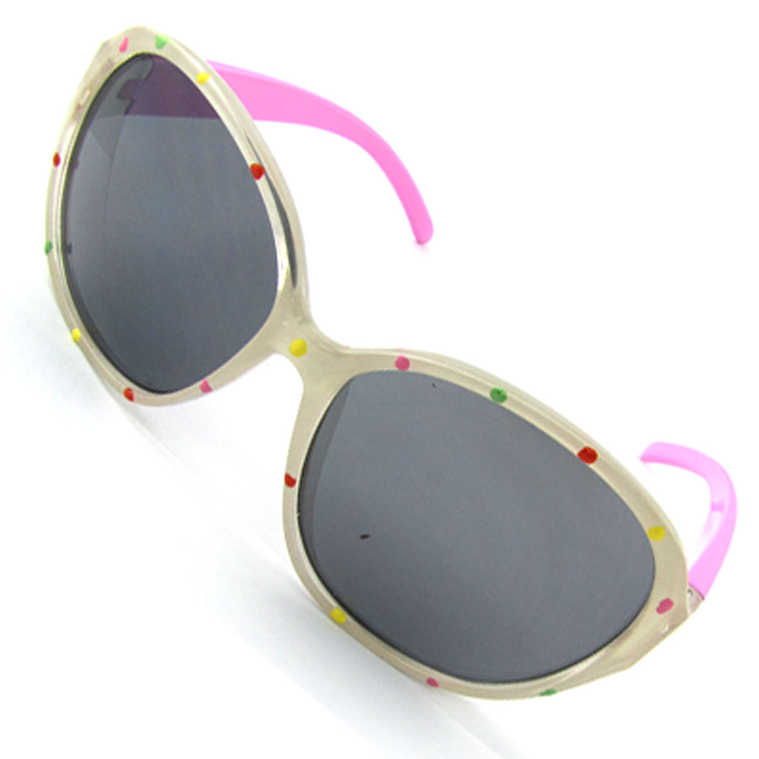 White Frame Round Lens Pink Temples Sunglasses for Kids