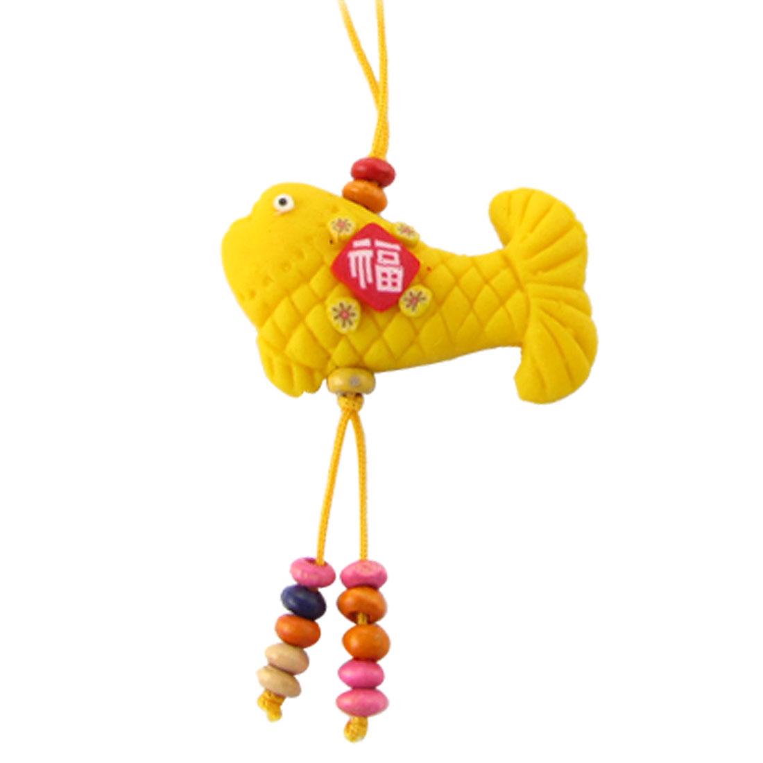 1 PCS Yellow Rubber Fish Pendant Mobile Strap Phone Charm