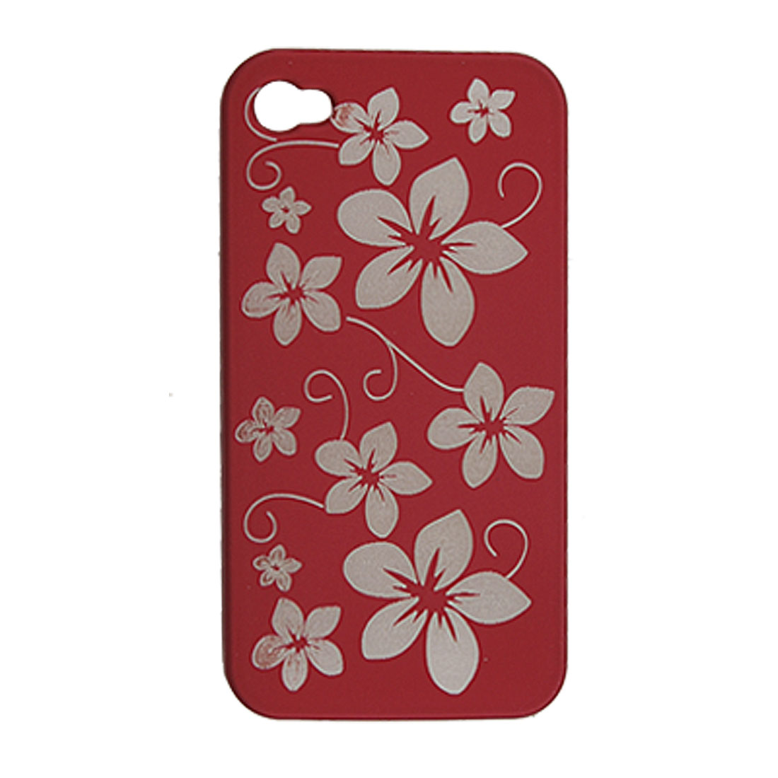 Maroon Rubberized Hard Plastic Carve Flower Case for iPhone 4G 4