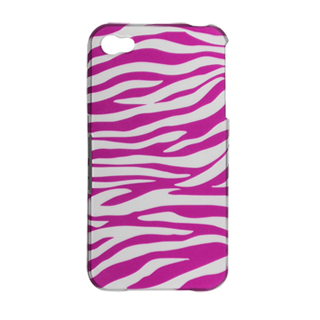 Fuchsia White Zebra Stripes Rubberized Plastic Case for iPhone 4 4G