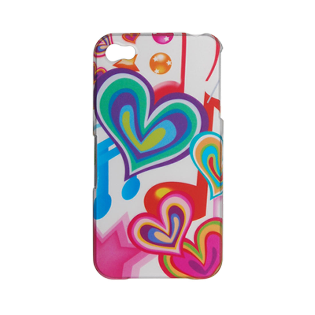 Rainbow Heart Print Rubberized Hard Plastic Case for iPhone 4 4G