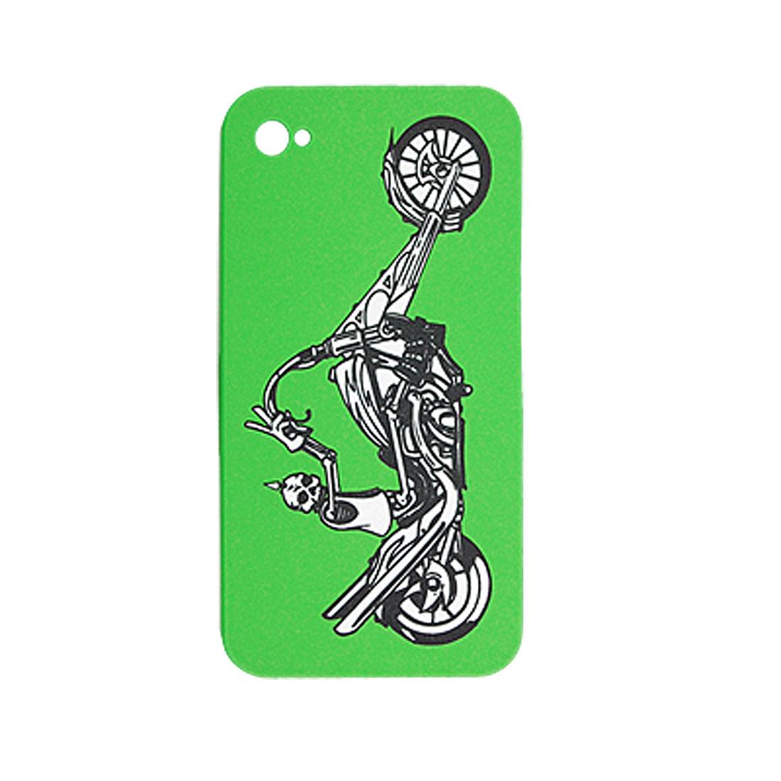 Green Hard Plastic Skull Motobike Back Case for iPhone 4 4G