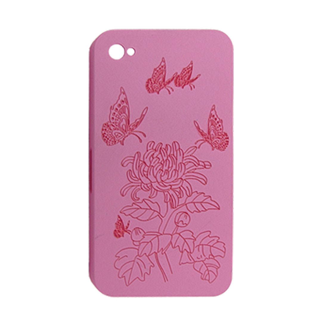 Protective Floral Printed Dark Pink Hard Shell Back Case for iPhone 4 4G