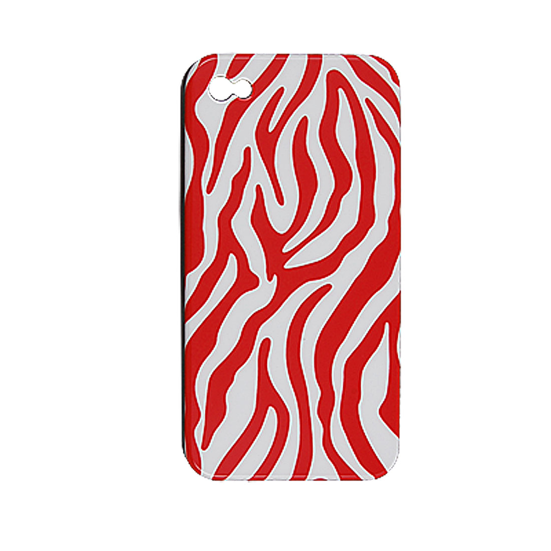Red White Zebra Pattern Hard Back Case Shell for iPhone 4 4G