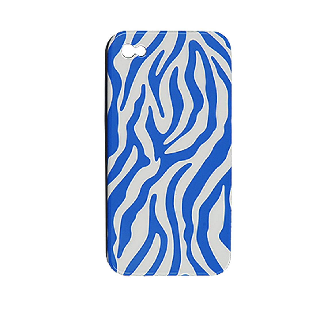 Blue White Zebra Design Plastic Shell Bakc Case for iPhone 4 4G