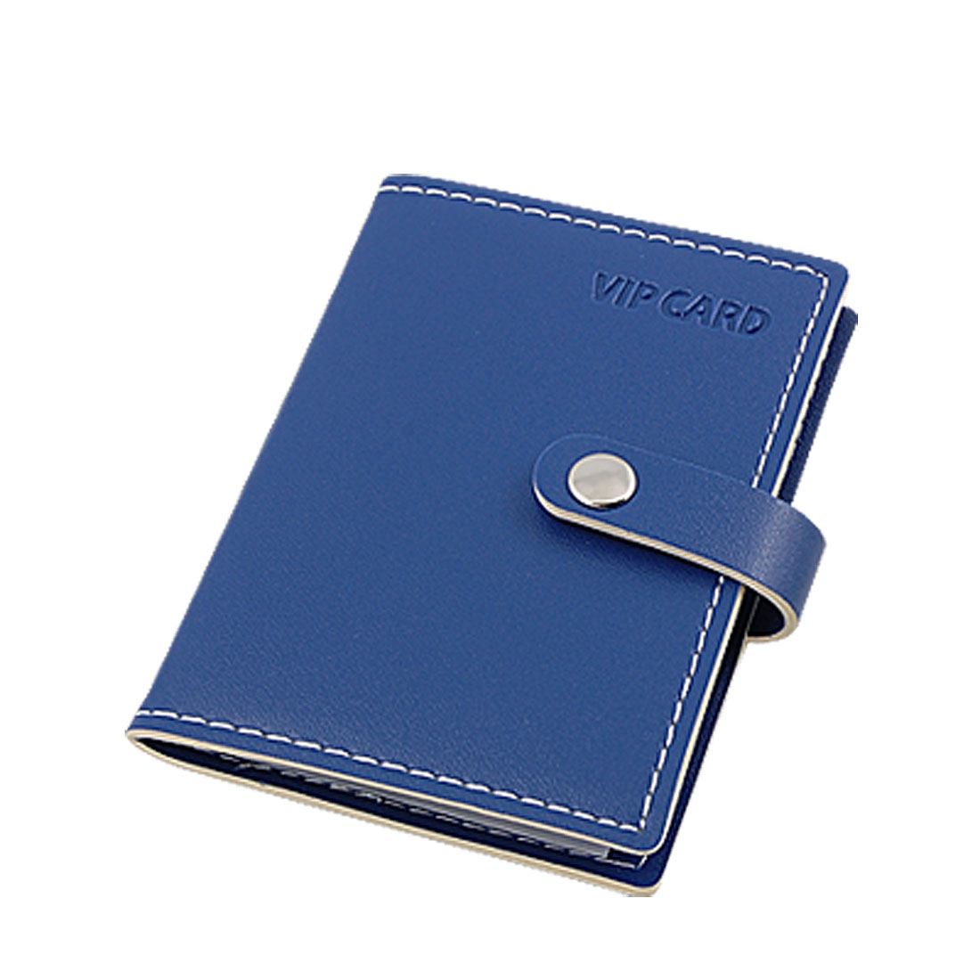 Blue Faux Leather Partition Bank Credit Card Case Holder