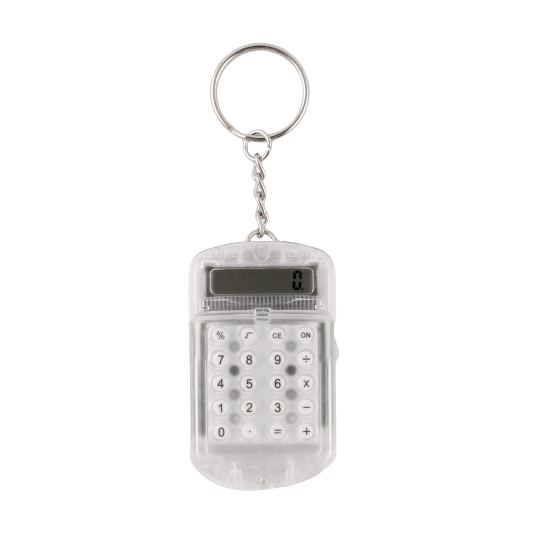 Digits Ultra Thin Pocket Mini Calculator with Key Ring Keychain Clear White