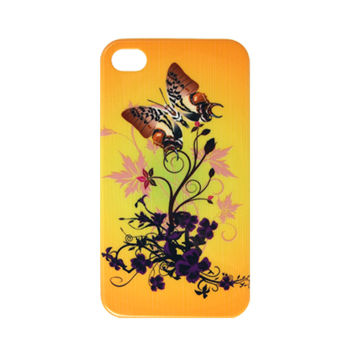 Flower Butterfly Print Plastic Case Cover for iPhone 4 4G