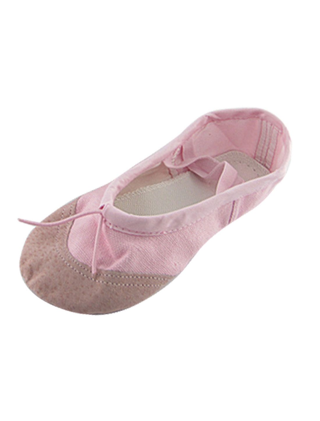 Girls US Size 13.5 Pink Canvas Crossover Elastic Bands Flat Dancing Ballet Shoes