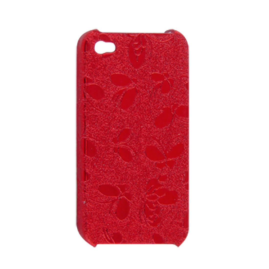 Shiny Red Butterfly Back Case w Screen Guard Anti Dust Cover for iPhone 4 4G