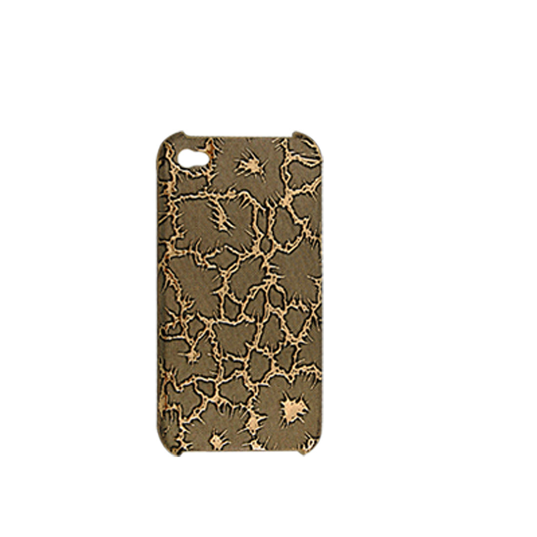 Gold Tone Crackle Hard Case + Anti-dust Cover + Screen Guard for iPhone 4 4G