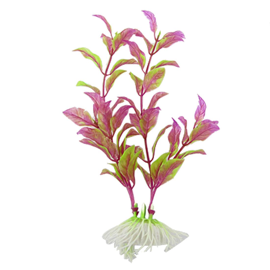 "7"" Long Purple Green Plastic Plants Fish Tank Decoration"