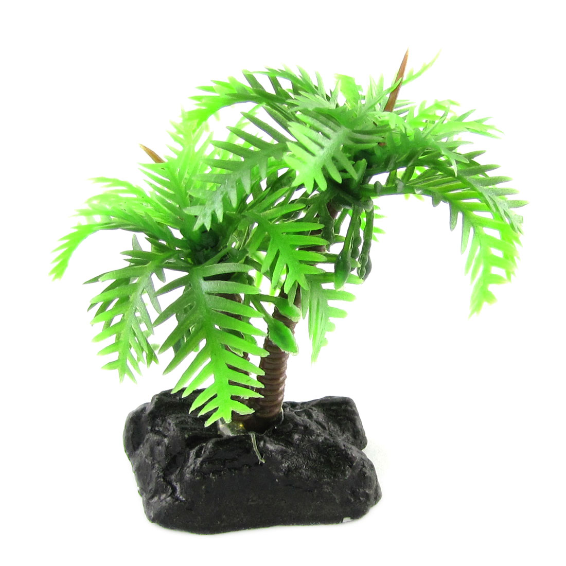 Fish Aquarium Coconut Tree Style Plastic Plant Ornament Decor