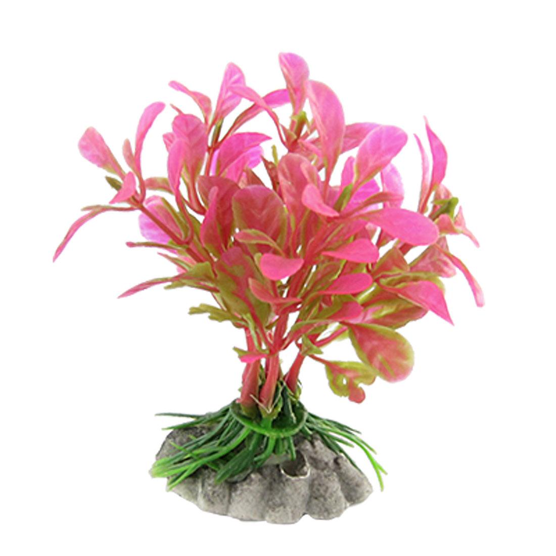 """Pink Plastic Grass 5"""" Long Decor Ornament for Aquarium"""