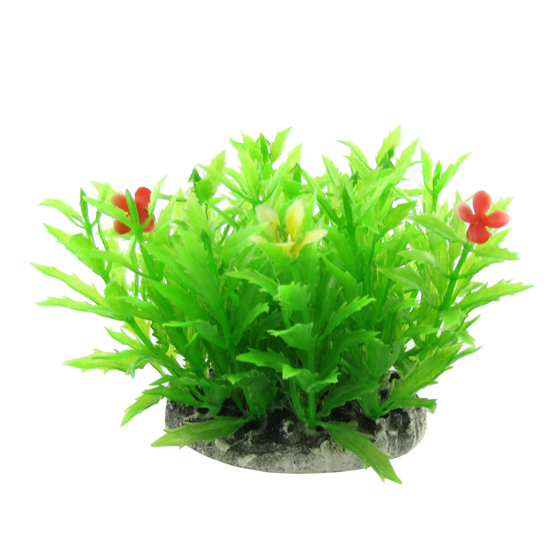 Floral Detailing Green Grass Ornament 3 Inch for Aquarium