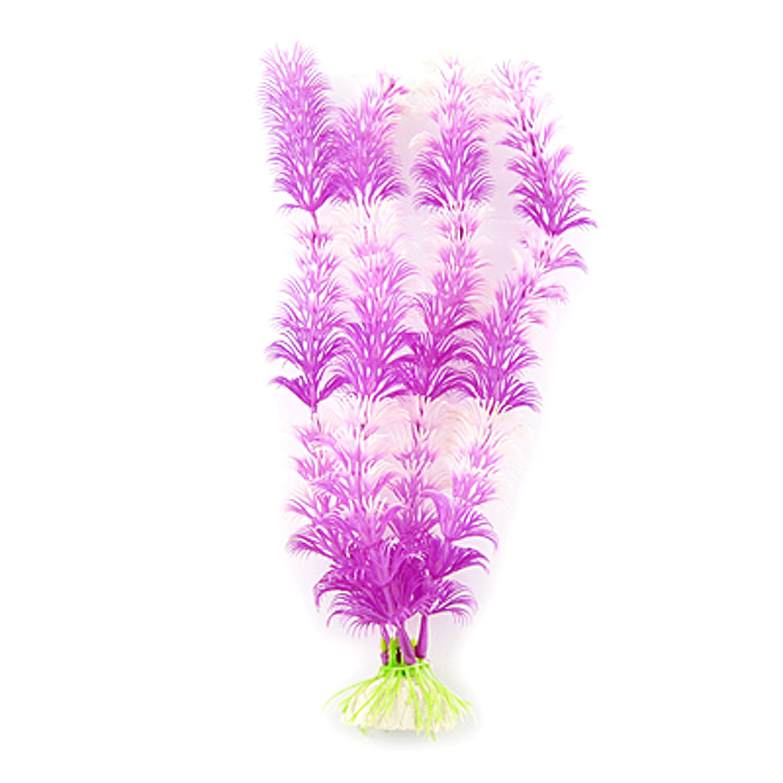 "10"" Long Purple White Plastic Grass Ornament for Fish Tank"