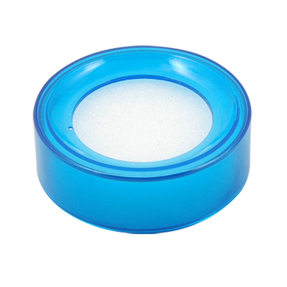Office Plastic Round Case Sponge Cup Finger Moisteners Wet Money Casher Blue