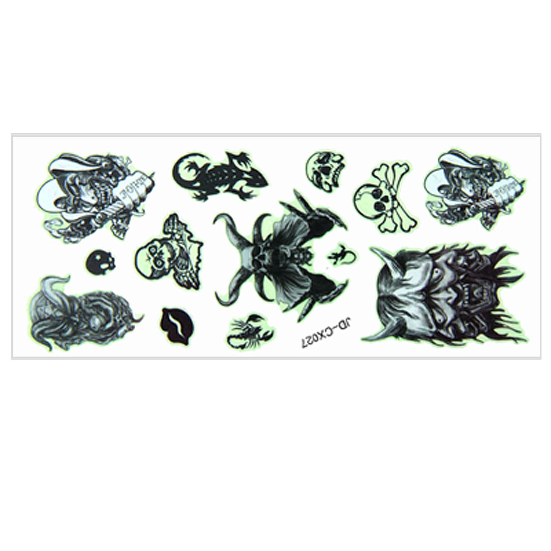 Lips Skull Devil 13 Luminous Black Transfer Tattoos Sticker