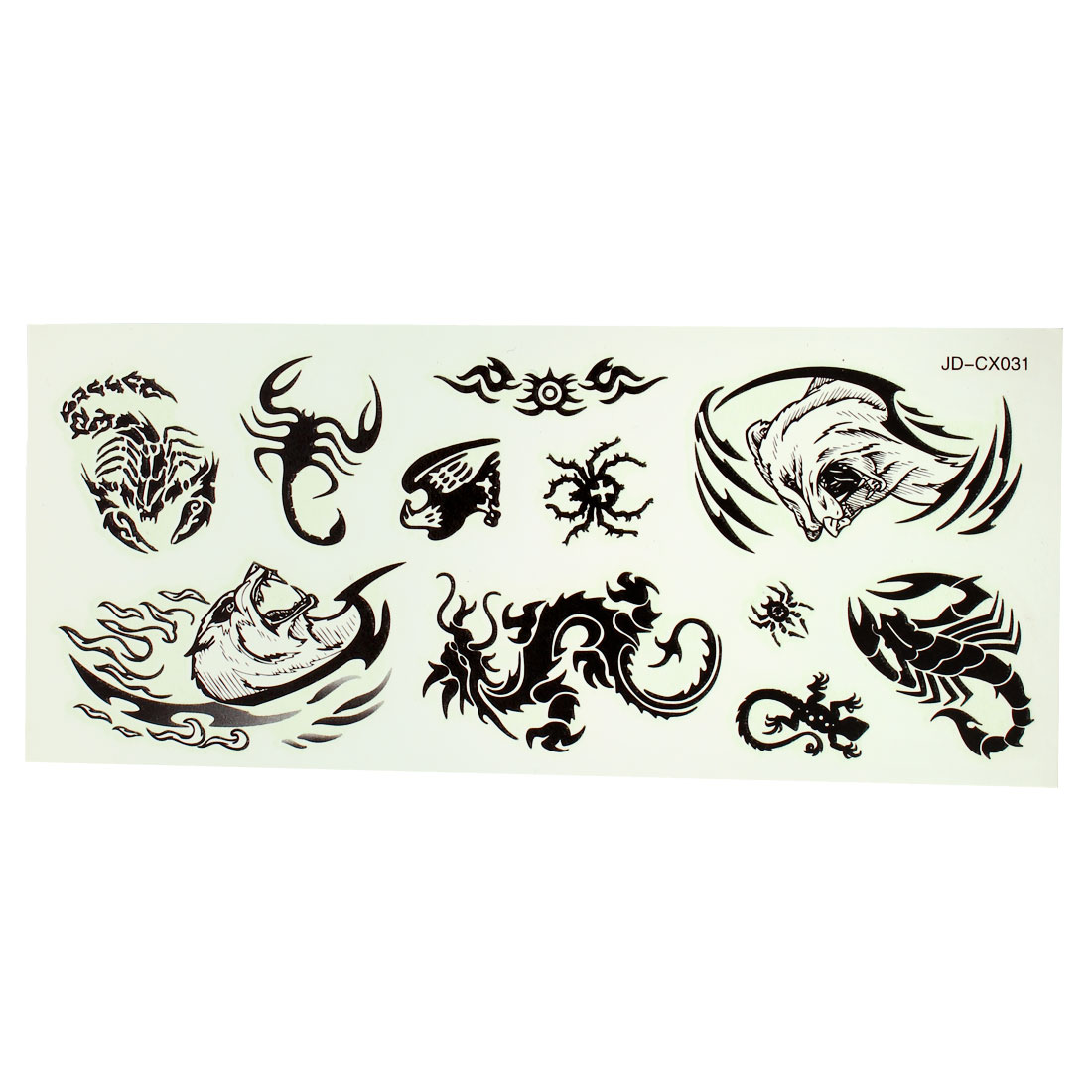 Multiple Animals Pattern Black Noctilucent Temporary Tattoos Seal