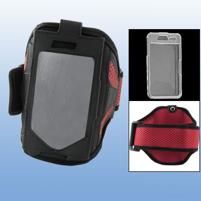 Red Mesh Style Armband Holder w Crystal Case for iPhone 4 4G