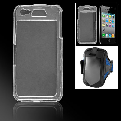 Clear Crystal Hard Plastic Shell w Blue Mesh Armband for iPhone 4