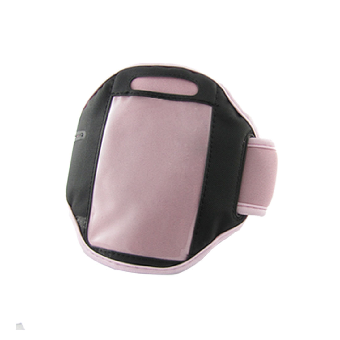 Hook and Loop Fastener Closure Pink Armband w Clear Crystal Shell for iPhone 4
