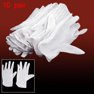 10 Pair Black Stripe White Anti-slip Anti-Static Gloves XS