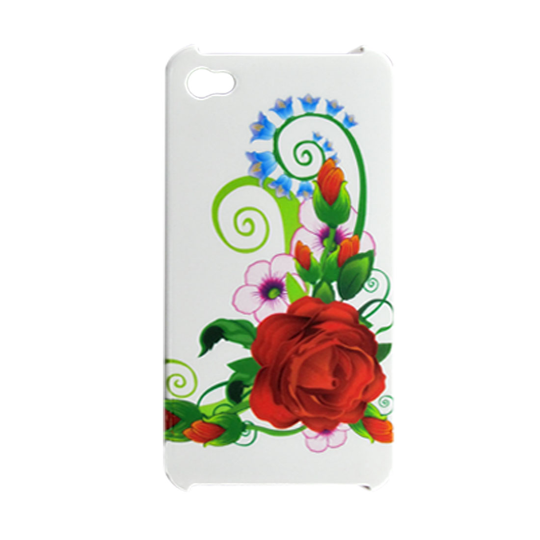 Car Chager + Colorful Floral Print Hard Back Cover for iPhone 4